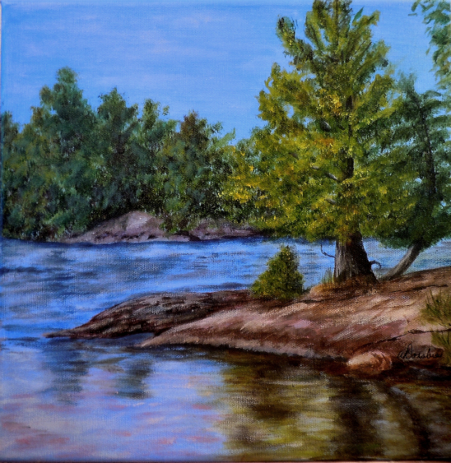 2013-34 Pine Point, Acrylic on Canvas, 12 x 12 ins Copyright Wendie Donabie 2013