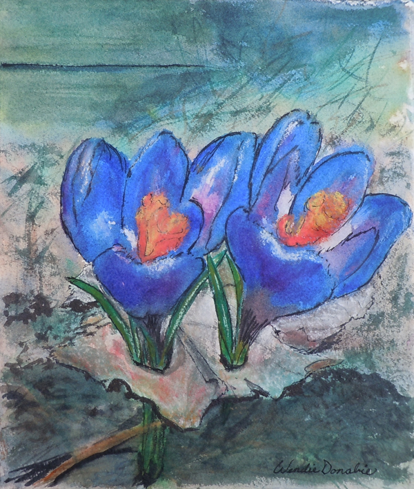Crocus Duet, Watercolour, Soft Pastel and Ink, 9.75x8.25 - 2012 $100