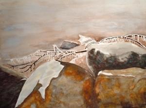 Frozen Shoreline Watercolour 10x13.5 inches, 2012 FRAMED $230