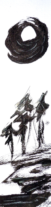 3566 - Moon Dance, Chinese Ink, Painting by Wendie Donabie, 15.58x4.316, Copyright Wendie Donabie