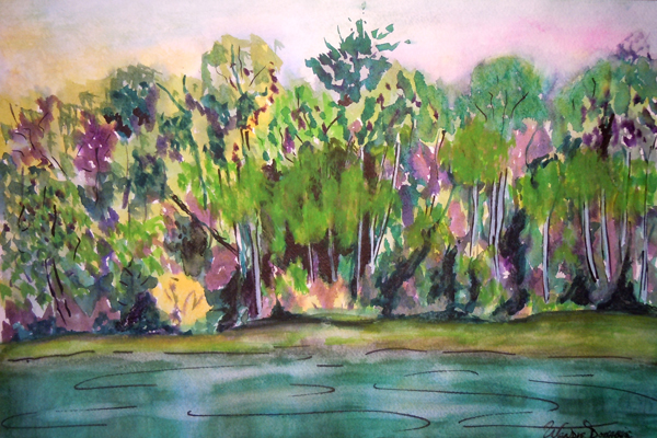 3567 - Muskoka River at Bracebridge Falls 1 Watercolour - 11x15, Copyright Wendie Donabie