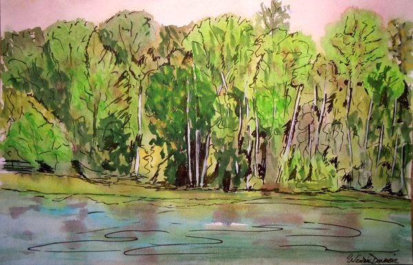 3568 - Muskoka River at Bracebridge Falls 2 Watercolour - 11x15, Copyright Wendie Donabie