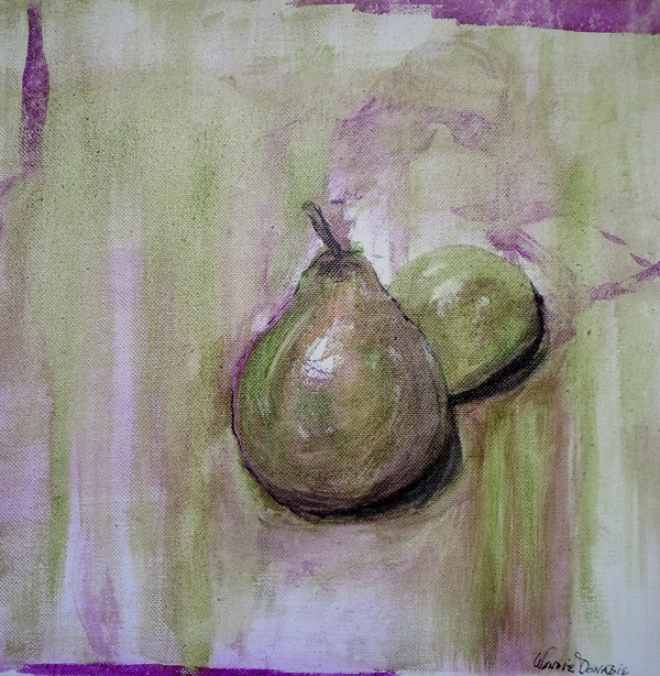 3578 - Pears - Acrylic Ink on Canvas - 12x12 inches, Copyright Wendie Donabie