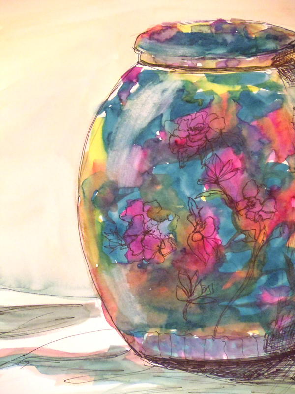 3561 - Porcelain Jardiniere 2 Watercolour, graphite, ink - 15x11, Copyright Wendie Donabie