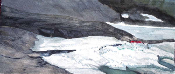 3580 -Spring Ice Break up on Lake Muskoka, Watercolour -6x13.75, Copyright Wendiie Donabie