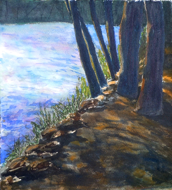 Summer Afternoon by the lake - Watercolour, 13x10, 2012 FRAMED $200