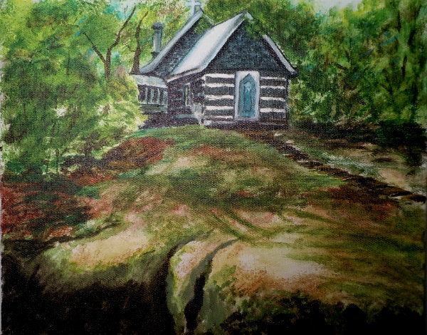 St Peters Rocksborough, Painting by Wendie Donabie, 8x10, Acrylic Ink on Canvas 2012