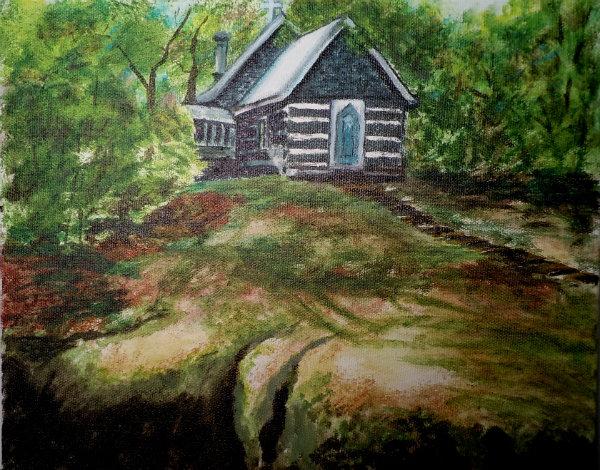 St Peters Rocksborough, Painting by Wendie Donabie, 8x10, Acrylic Ink on Canvas 2012