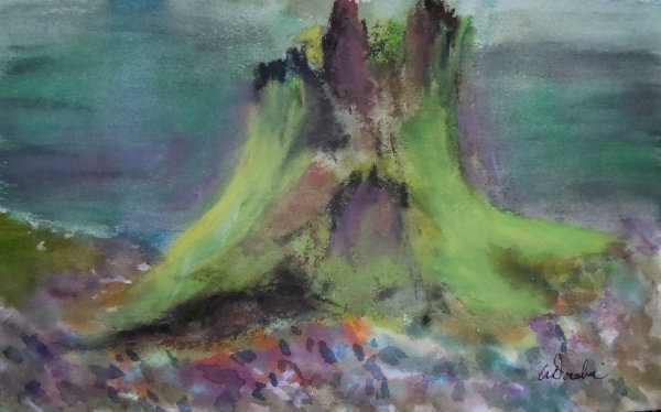Woodlands Cycle of Life - Moss Covered Cedar Stump - Painting by Wendie Donabie, Watercolour and Soft Pastel - 10.25 x 6.75, 2013-2