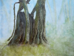 2013-3 Firmly Rooted Series - Guardian of the Forest, Waterolour & Ink, Copyright Wendie Donabie 2013