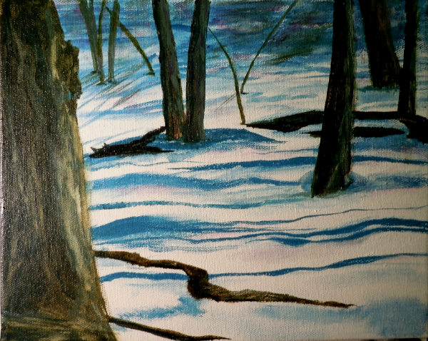 3596 - Woods in Winter 8 x 10 Acrylic Ink on Canvas Copyright Wendie Donabie