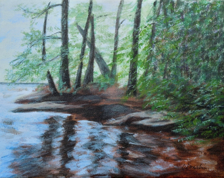 2013-16 Reflecting Pool Upstream from Wilson Falls, Bracebridge 8 x 10 Acrylic copyright Wendie Donabie 2013