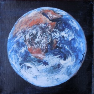 2013-17 Mother Earth - View of Africa, Acrylic on Canvas 6 x 6 Copyright Wendie Donabie 2013