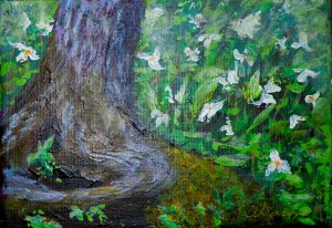 3618 - Trillium Fantasy #2, Acrylic on Canvas, 5 x 7, Copyright Wendie Donabie