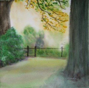 2013-7 The Secret Garden, Watercolour & Soft Pastel, 9 x 9 Copyright Wendie Donabie 2013