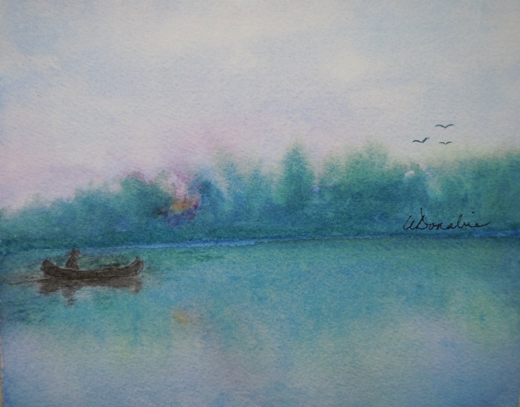 2013-8 Paddling at Dawn, Watercolour & Chinese Ink, 6 x 7 Copyright Wendie Donabie 2013