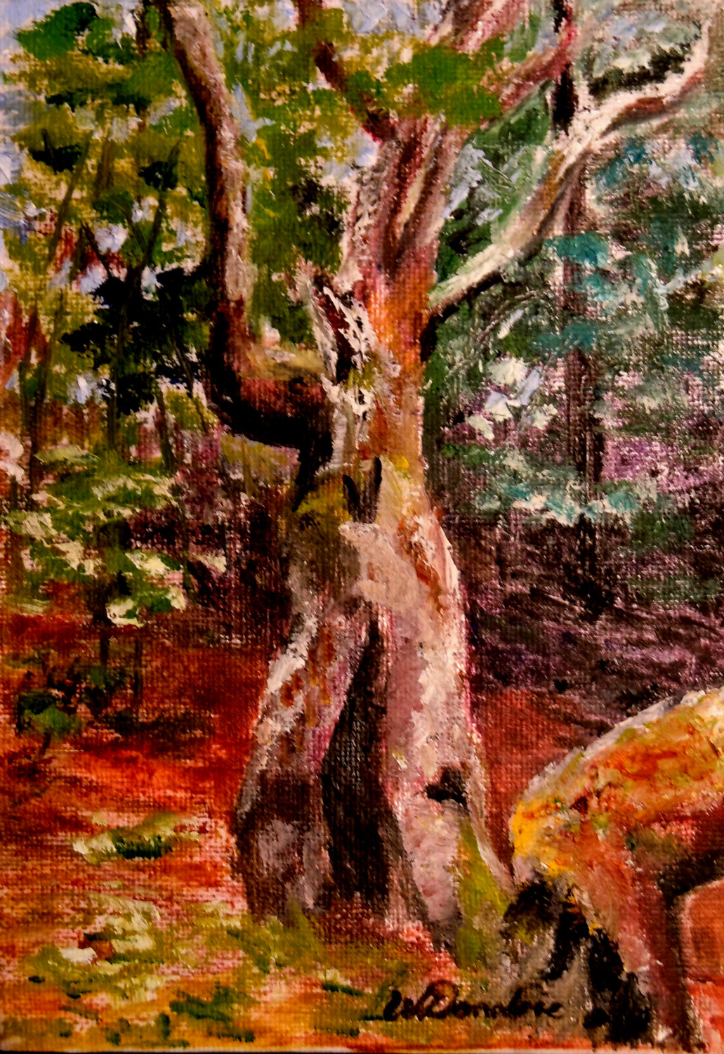 2013-35 Ent of Bracebridge Wood, Oil on canvas board, 7x5 ins, Copyright Wendie Donabie 2013