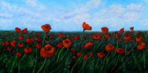 2013-36 Field of Remembrance, Acrylic on Canvas, 12 x 24 Copyright Wendie Donabie 2013