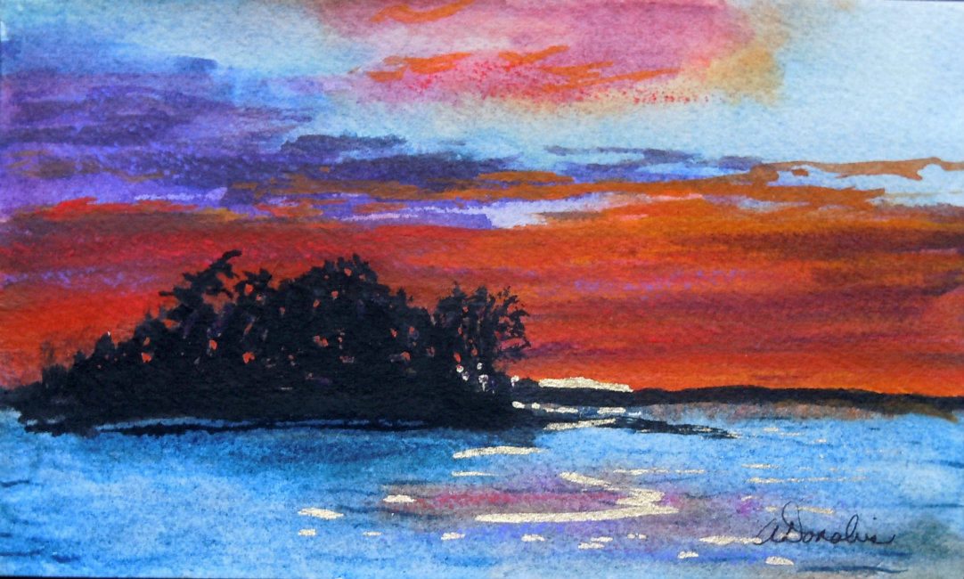 2013-10 Fire in the Sky #2 Watercolour & Ink Copyright Wendie Donabie 2013
