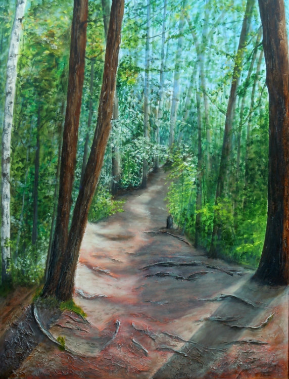 2014-13 Firmly Rooted - Out of the Woods 30 x 40 inches, Acrylic on Canvas, Copyright Wendie Donabie 2014
