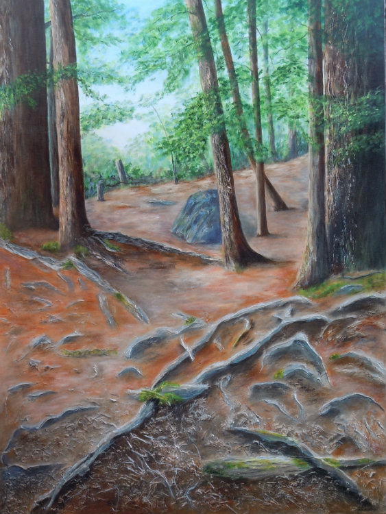 3641 - Firmly Rooted - Invitation to Explore, Acrylic on Canvas, 40 x 30 inches, Copyright Wendie Donabie