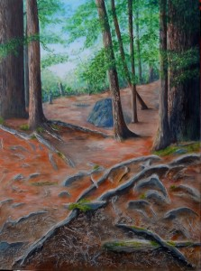 2014-4 Firmly Rooted - Invited to Explore, Acrylic on Canvas, 40 x 30 inches, Copyright Wendie Donabie 2014