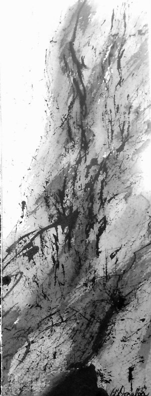 2014-12 Firmly Rooted - Cascade, Chinese Ink on watercolour Paper, 3.5 x 11 inches, Copyright Wendie Donabie 2014