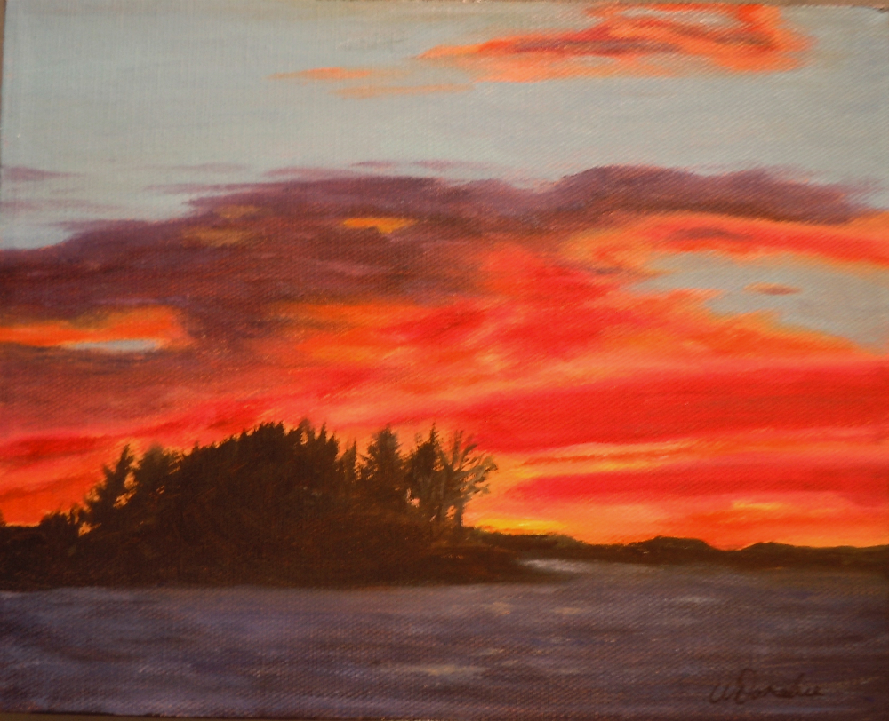 2014-17 Muskoka Beach Sunset, Acrylic on Canvas, 8 x 10 inches, Copyright Wendie Donabie 2013