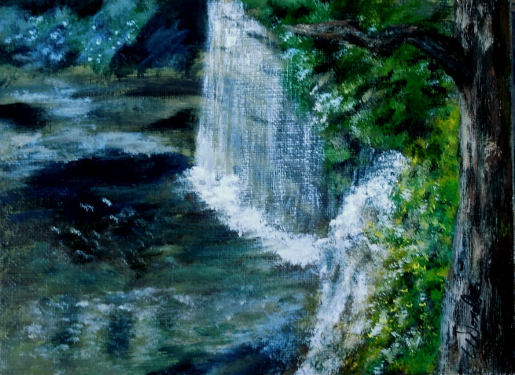 3655 - Hidden Falls, Acrylic on Canvas, 6 x 8 inches, Copyright Wendie Donabie