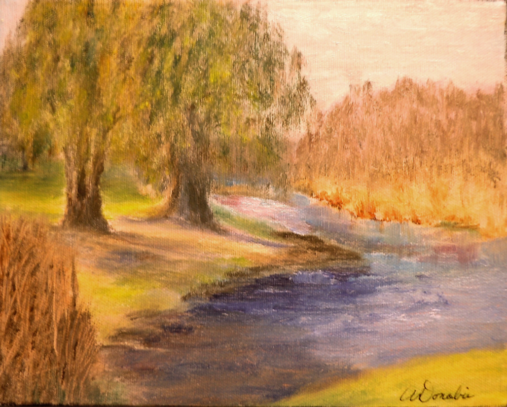 2014-25 Weeping Willows, Warkworth, Ontario, Acrylic on Canvas, 8 x 10 inches, Copyright Wendie Donabie 2013