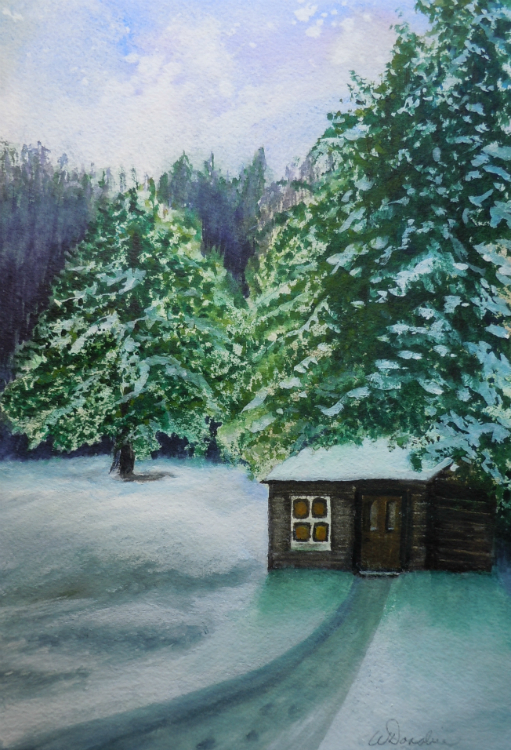 3610 - Winter Retreat, Watercolour on paper, 11 x 7 inches, Copyright Wendie Donabie