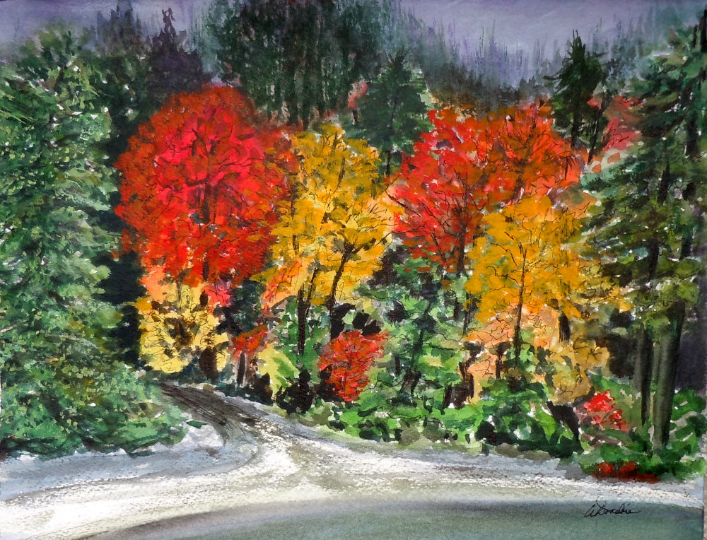 2013-13 Fiery Fall Foliage Watercolour, Soft Pastel and Ink 9.5 x 12.25, Copyright Wendie Donabie