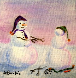 A Winter's Tale, Acrylic on Canvas, 2 x 2 inches, Copyright Wendie Donabie 2014