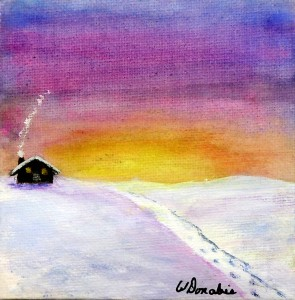 Cozy Winter Cabin, Acrylic on Canvas, 2 x 2 inches, Copyright Wendie Donabie 2014