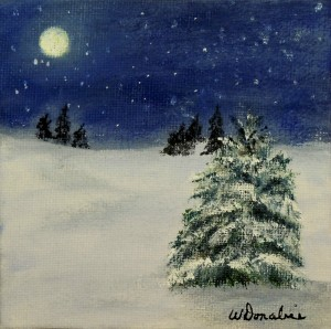 Starry Winter Night #1, Acrylic on Canvas, 2 x 2 inches, Copyright Wendie Donabie 2014