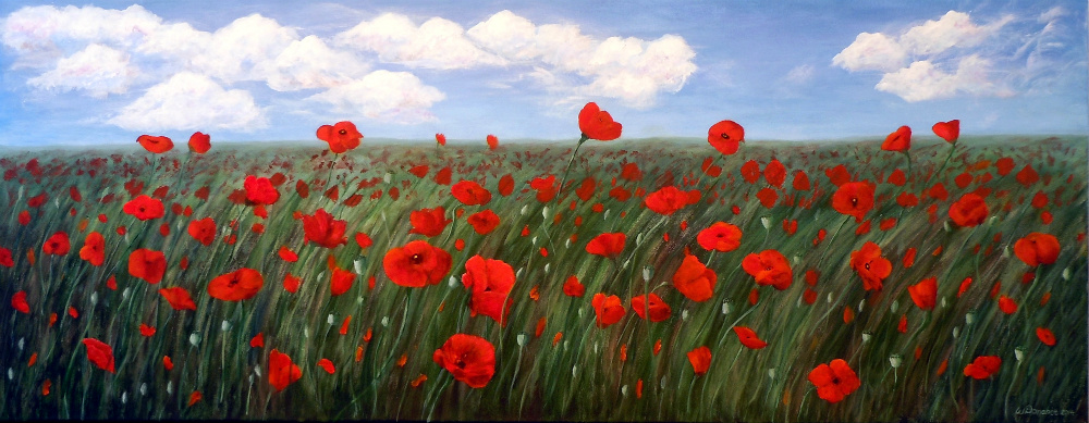2014-42 Alicia's Poppy Field, Acrylic on Canvas, 24 x 60 inches, Copyright Wendie Donabie 2014