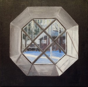 This simple octagon window looks out on the seasons. I used it to capture both real and imagined scenes beyond. I loved the way the light turned the icicles to crystal and lit up the snow in our neighbour's yard.