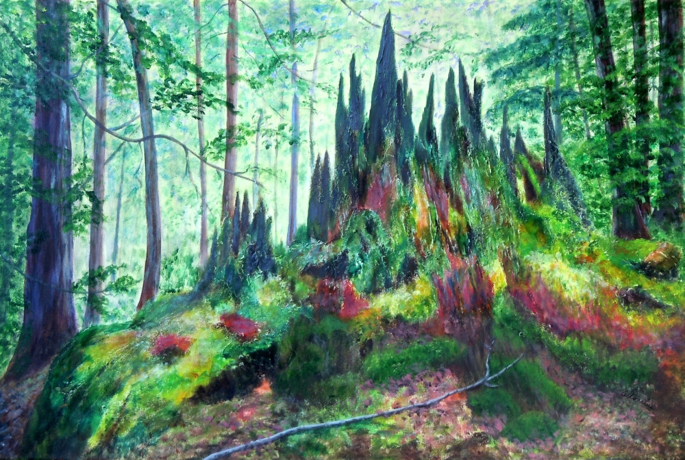 3681 Forest in Transition, Acrylic on Canvas, 20 x 30 inches, Copyright Wendie Donabie