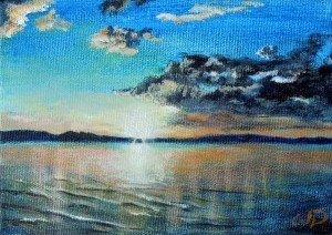 3693 - Muskoka Sunset #1, Acrylic on Canvas, 5 x 7 inches, Copyright Wendie Donabie