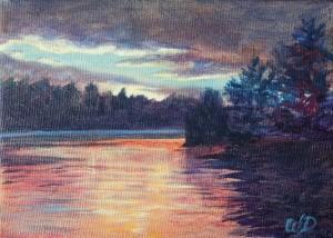 3695 - Muskoka Sunset #3, Acrylic on Canvas, 5 x 7 inches, Copyright Wendie Donabie