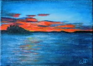 3696 - Muskoka Sunset #4, Acrylic on Canvas, 5 x 7 inches, Copyright Wendie Donabie