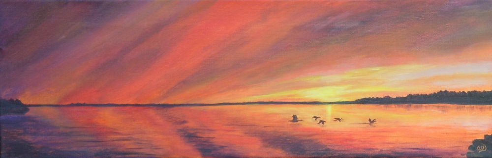 3697 - Muskoka Sunset #5, Acrylic on Canvas, 8 x 24 inches, Copyright Wendie Donabie