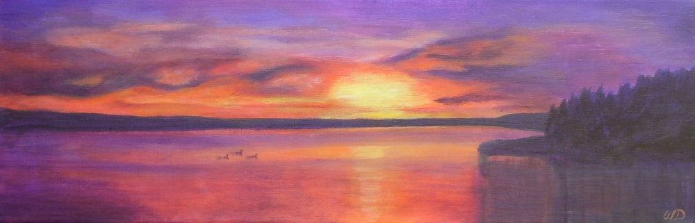 3699 - Muskoka Sunset #7, Acrylic on Canvas - Lounging Loons at Sunset, 8 x 24 inches, Copyright Wendie Donabie