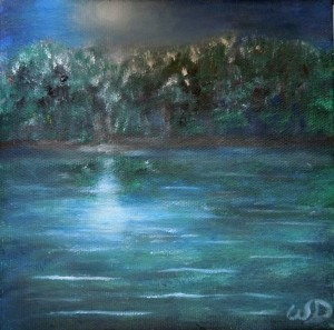 3708 - Muskoka Moonlight, Oil on Canvas, 6 x 6 inches, Copyright Wendie Donabie