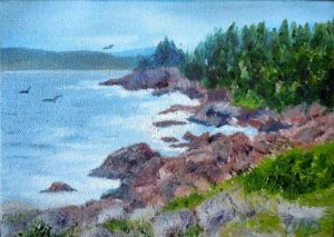 3709 - Cape Breton Shore, Oil on Canvas, 5 x 7 inches, Copyright Wendie Donabie