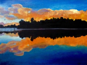 3711 - Muskoka Sunset #8, Oil on Canvas,16 x 12 inches, Copyright Wendie Donabie