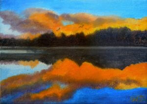 3718 - Muskoka Sunset #9, Oil on Canvas, 5 x 7 inches, Copyright Wendie Donabie
