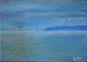 3719 - East Coast Blues, OIl on Canvas, 5 x7 inches, Copyright Wendie Donabie