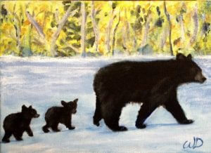 3713 - Bear Patrol, Acrylic on Canvas, 5 x 7 inches, Copyright Wendie Donabie