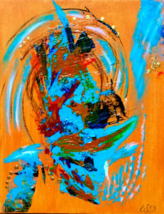 3737 - Creation Dancer, Acrylic & Mixed Media on Canvas, 14 x 11 inches, Copyright Wendie Donabie